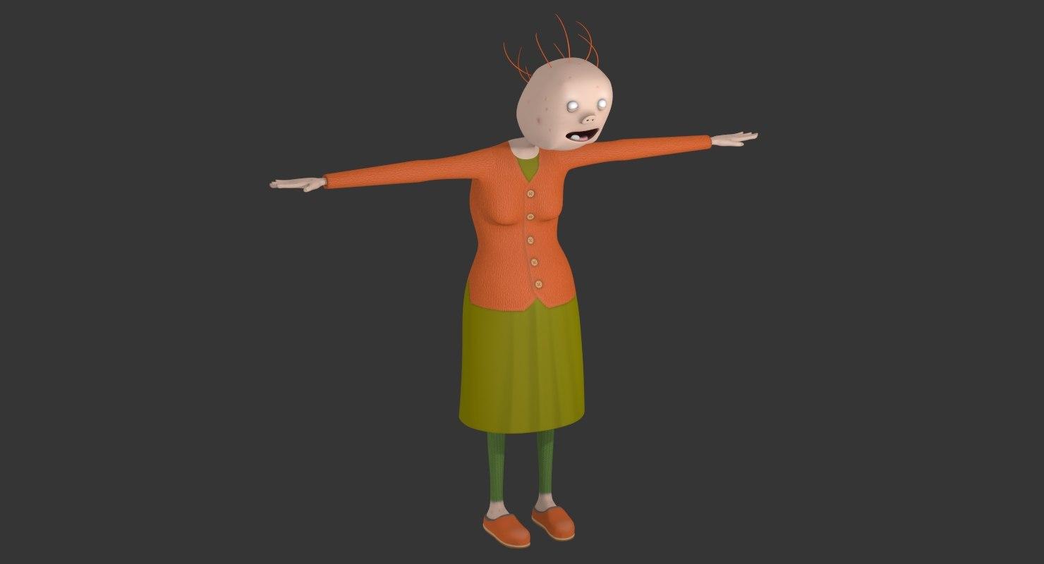 funny cartoon grandmother model