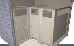 3D toilet partition