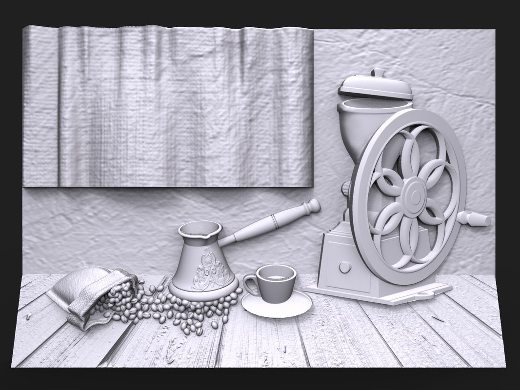 bas relief life coffee 3D