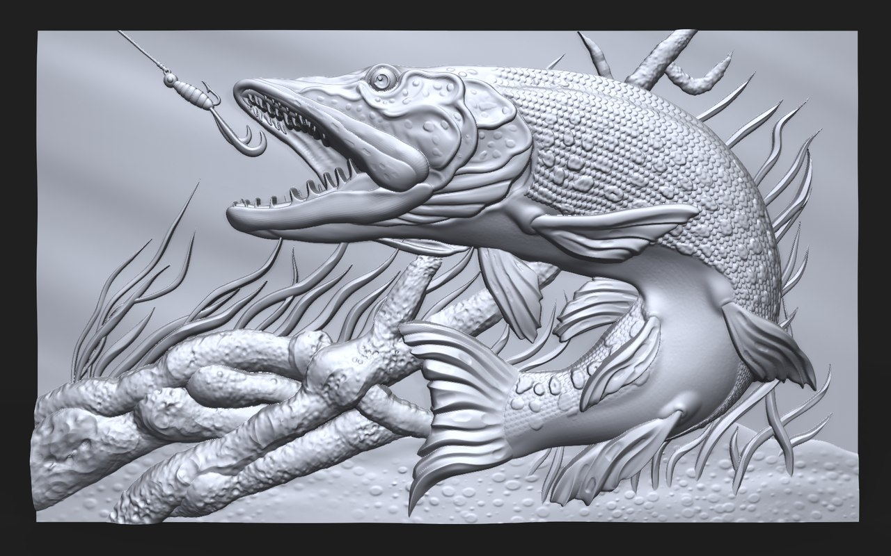 3D bas relief pike fishing model