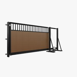 automatic sliding gate grid 3D model
