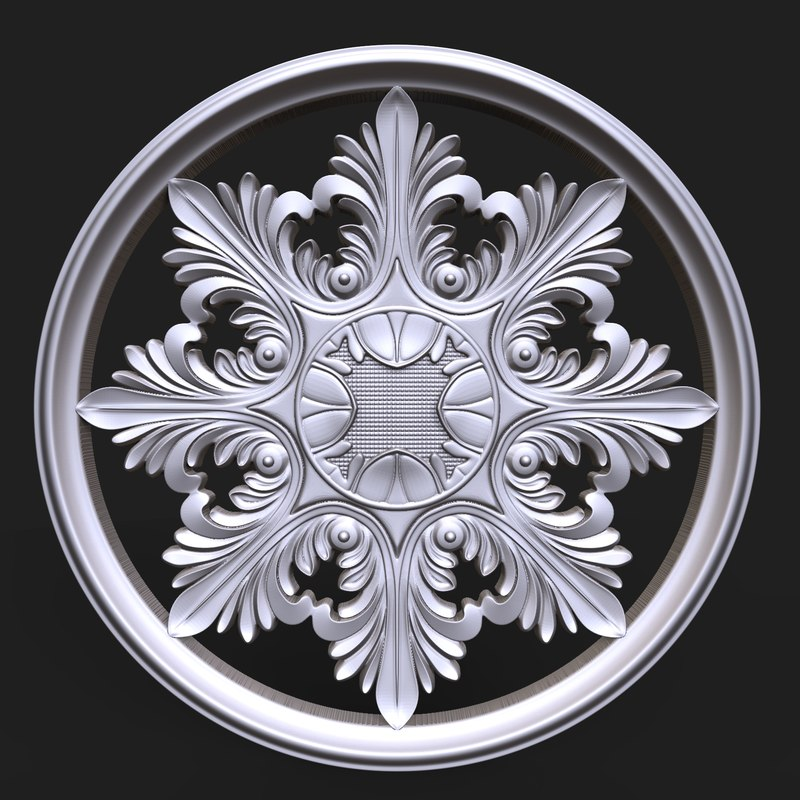 3D carved rosette decor element