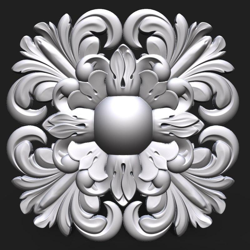 carved rosette decor element 3D model