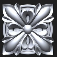 3D carved rosette decor element model