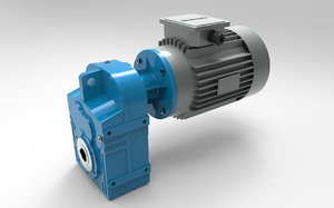 3D model helical gear reducer