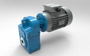 3D model helical gear reducer