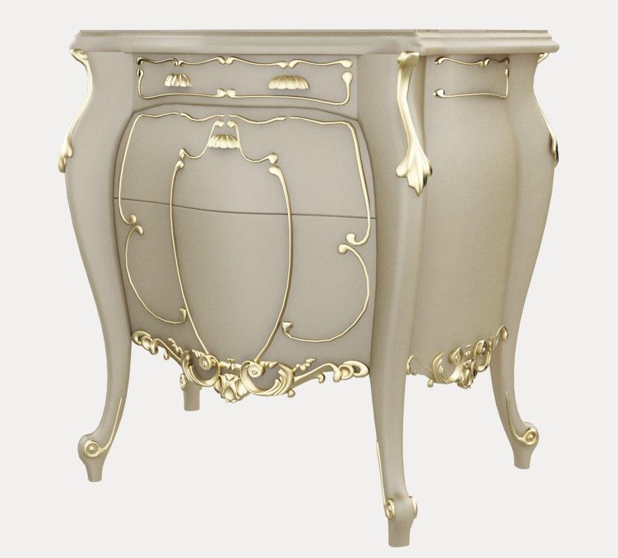 3D classic furniture console