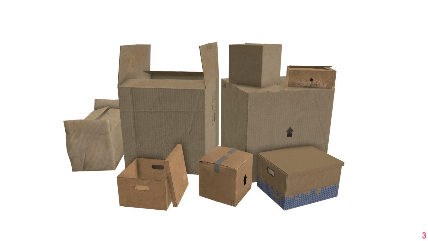 3D cardboard box pack 1