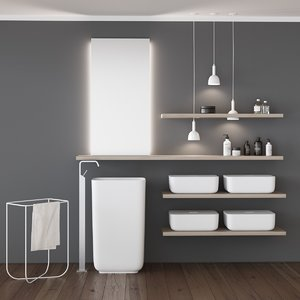 qi bathroom furniture set 3D model