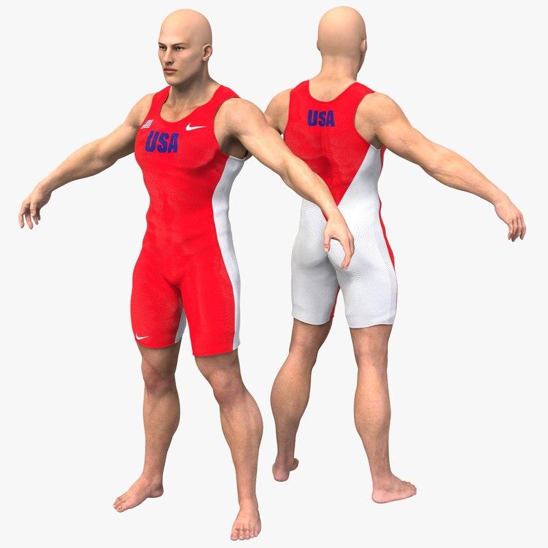 3D athlete character model