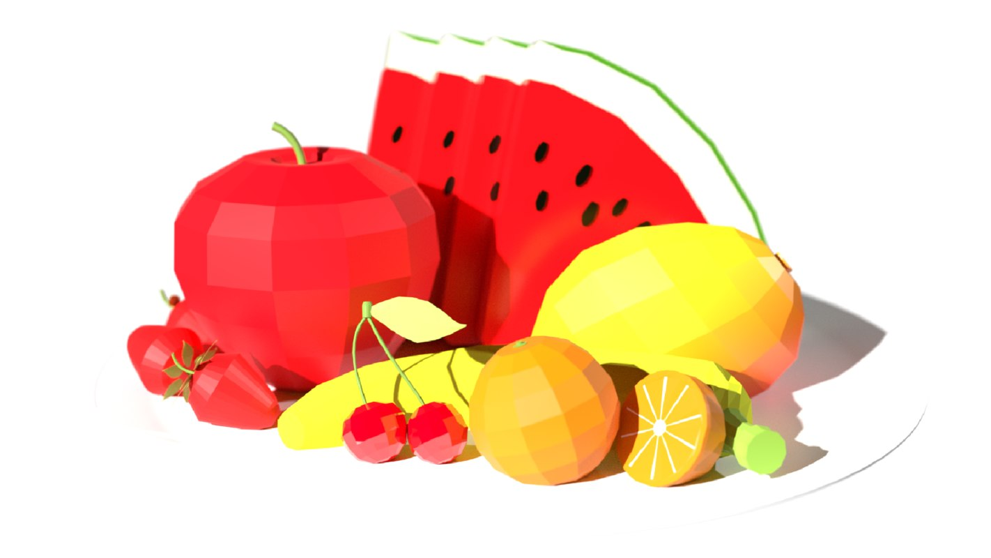 3D low-poly fruit