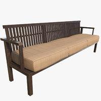 wood sofa 3D model