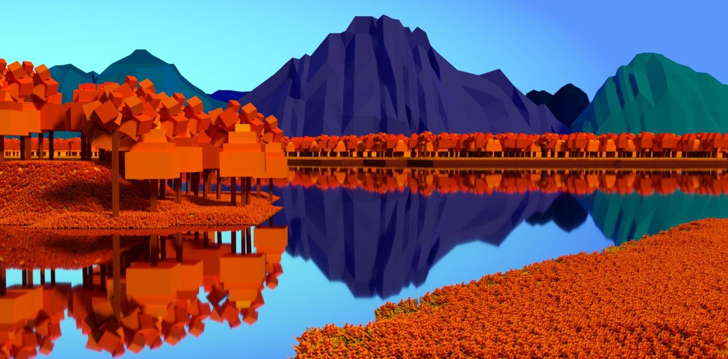 low-poly lakeside 3D model