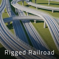 3D rigged railroad track model