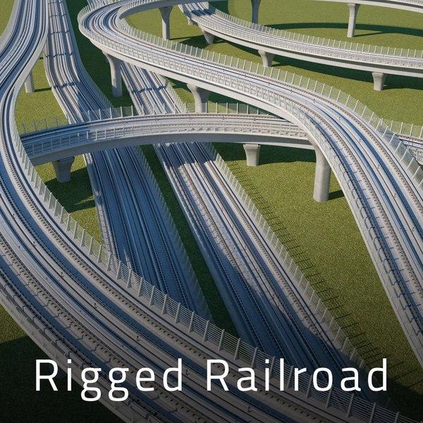 3D rigged railroad track model
