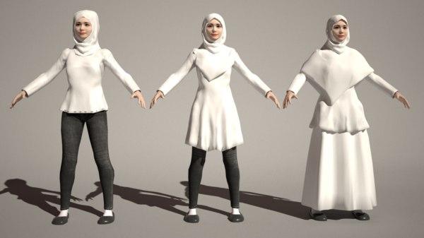 teen asian hijabers 3D