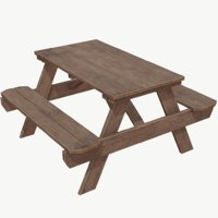 Picnic Table Low Poly PBR