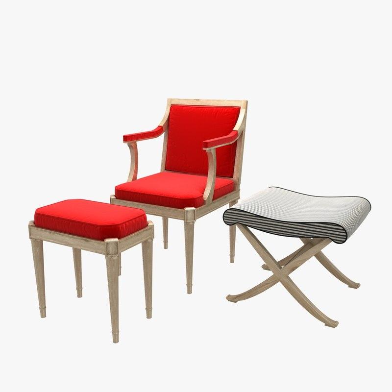 chair stool pouf 3D model