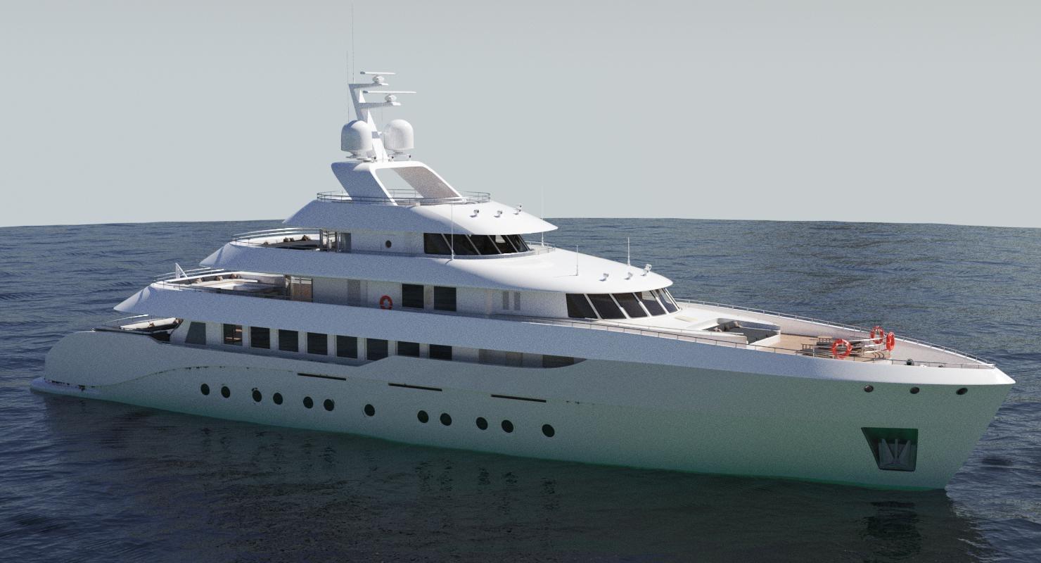 generic luxury yacht 3D