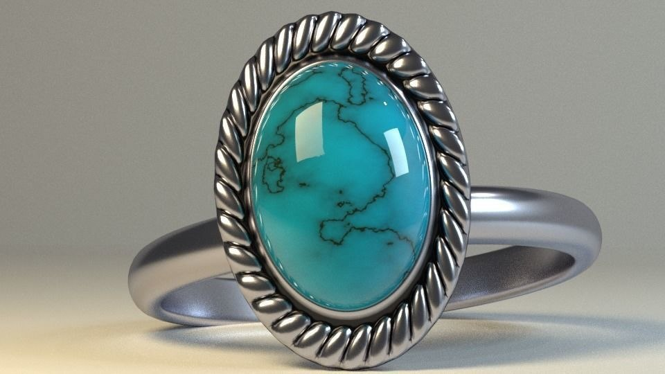 3D stone silver ring