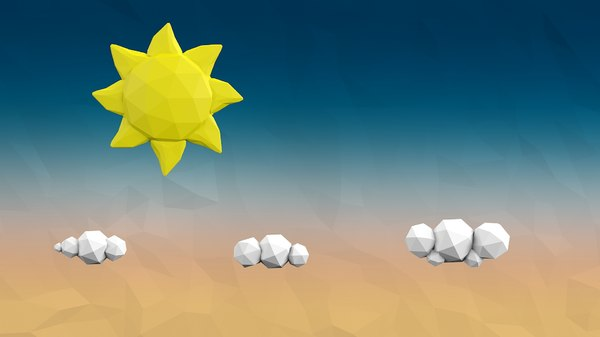 cartoon sky clouds 3D model
