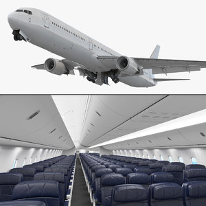 3D model boeing interior generic rigged