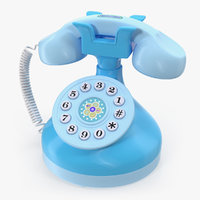 3D kids musical phone blue model