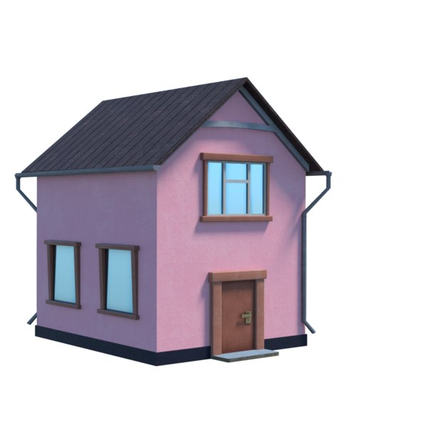 english village pink 3D model