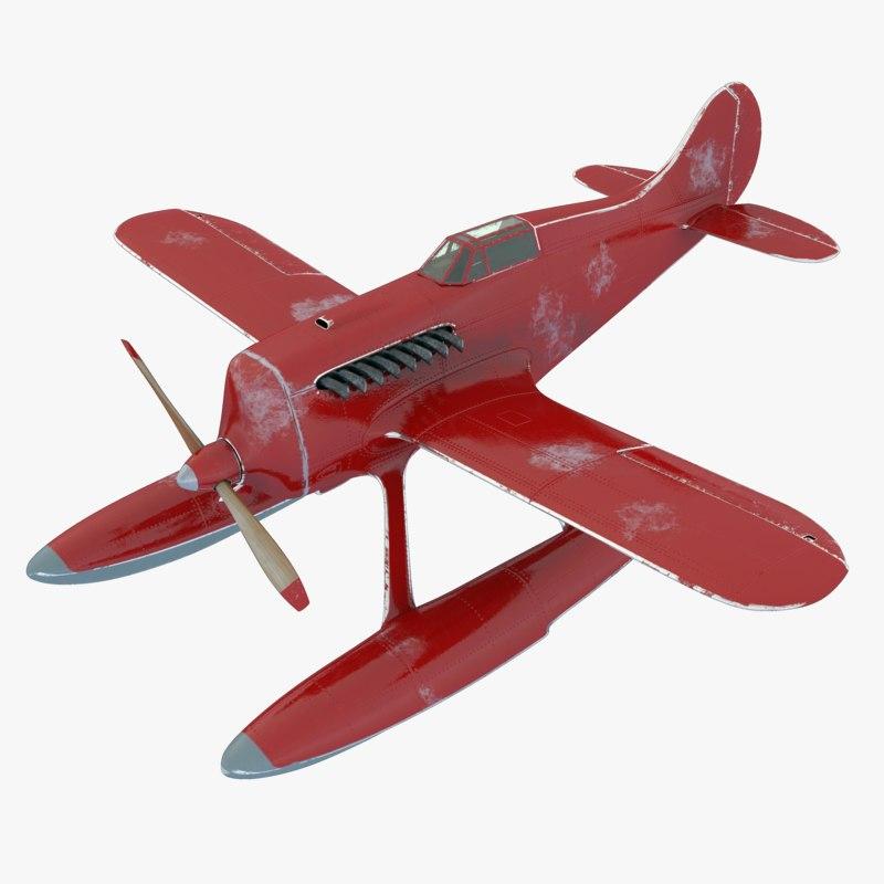 3D seaplane red blue model