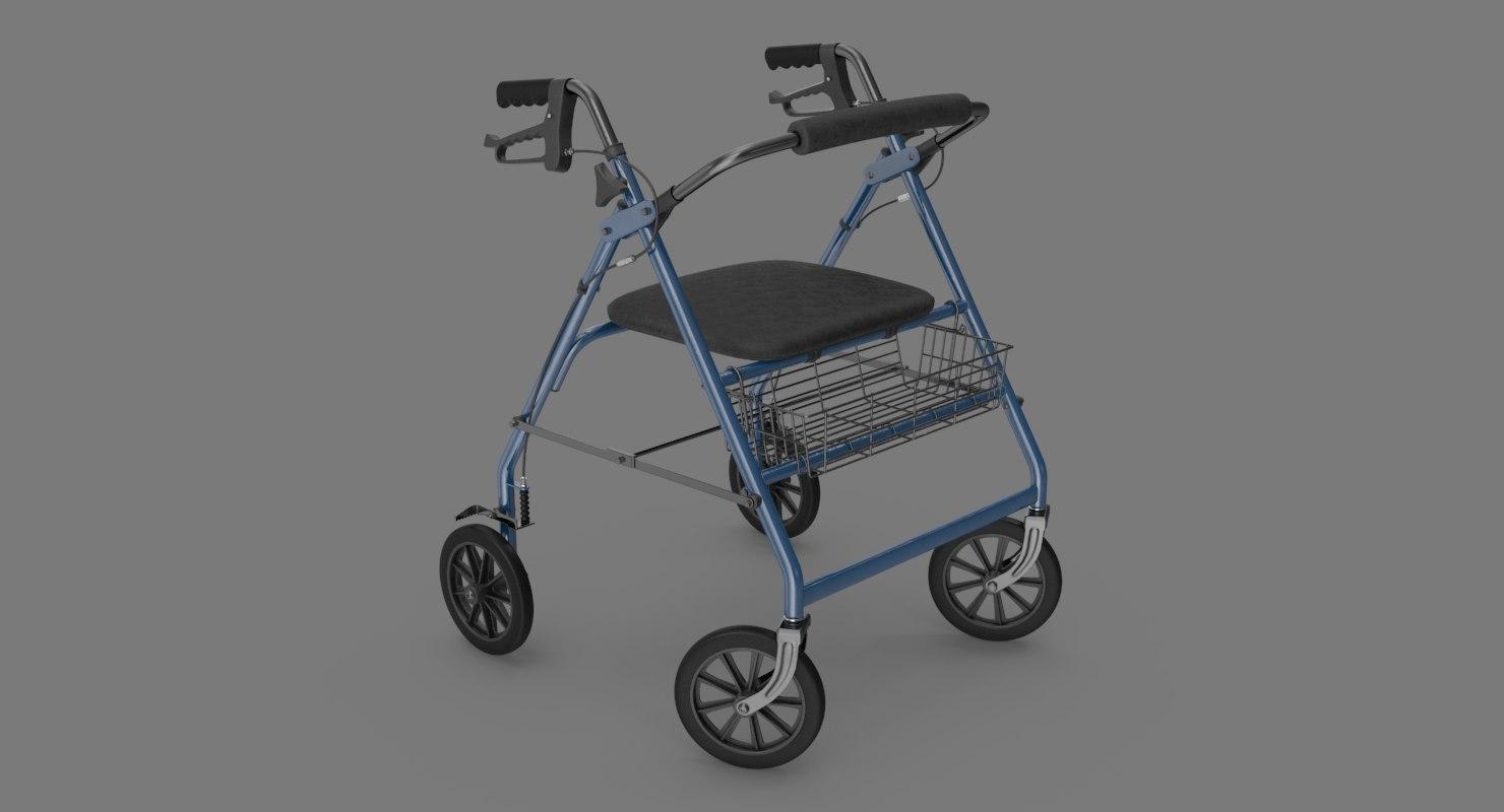 rollator walker 3D model