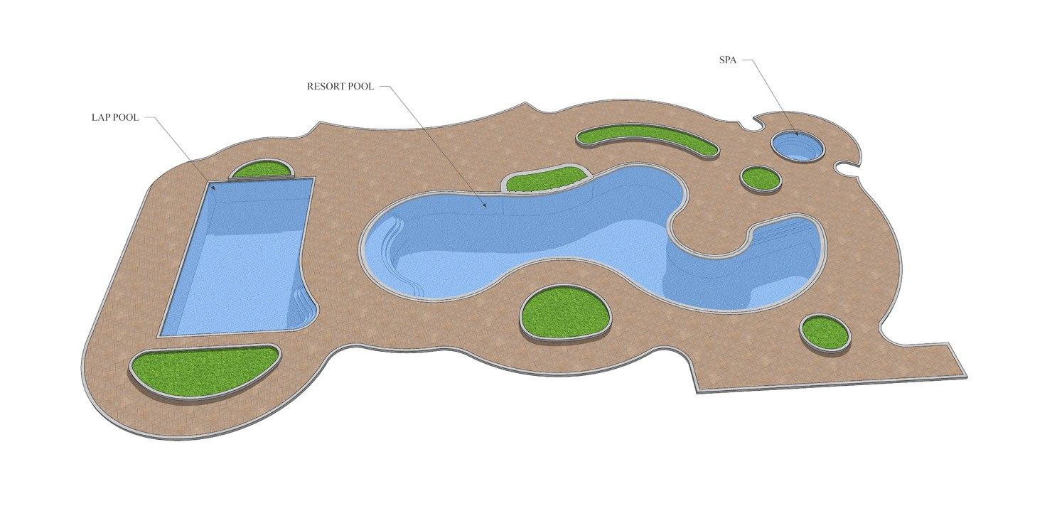 resort swimming pool 3D