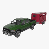 Pickup Truck with Horse Trailer