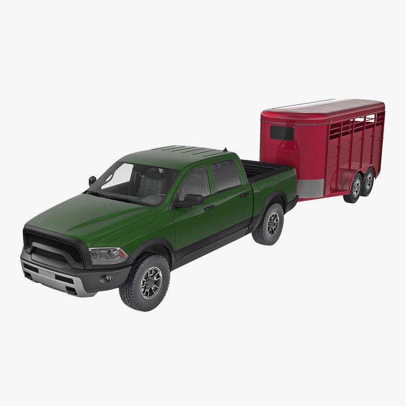3D model pickup truck horse trailer