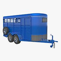 3D horse slant blue trailer