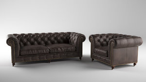 chesterfild sofa 3D model