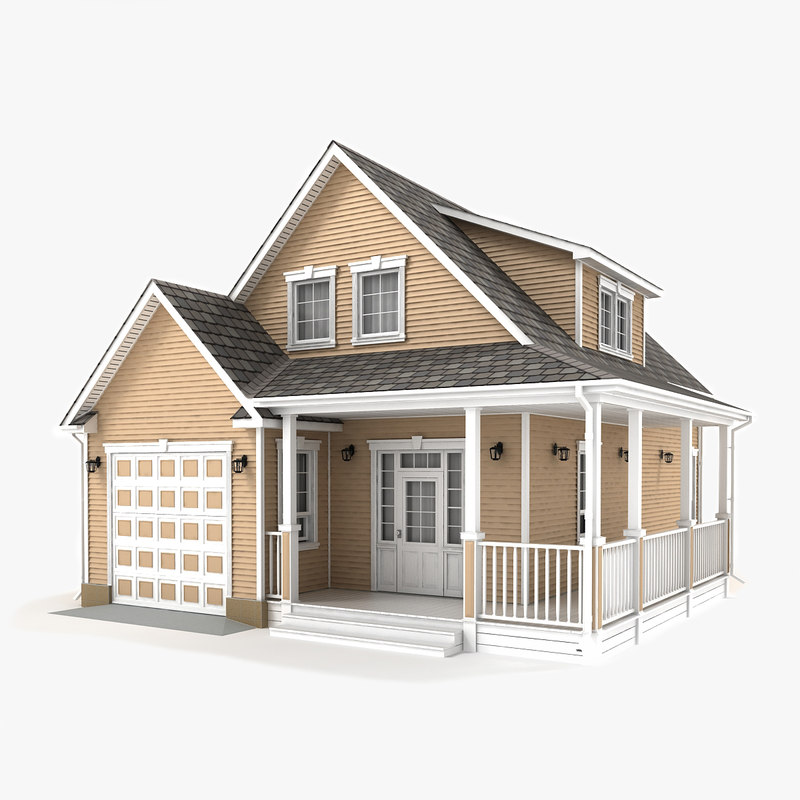 two-story cottage 55 3D model
