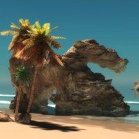 beach scene 3D model
