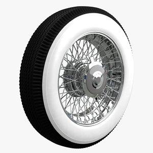 3D vintage car wheel model