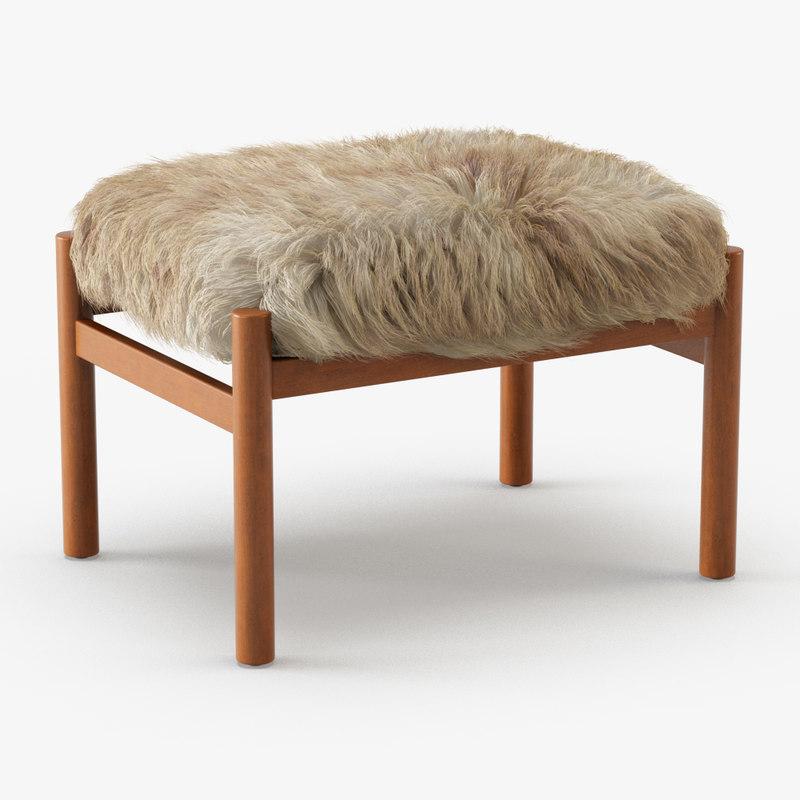 wool modern teak stool 3D model