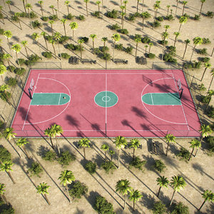 3D outdoor basketball court
