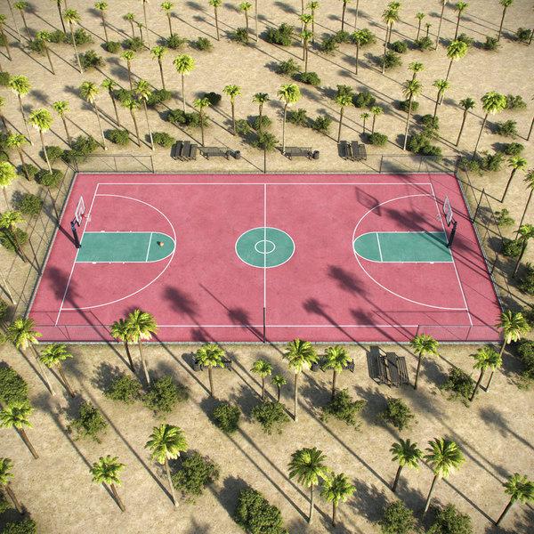 3D outdoor basketball court