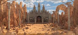 3D castle landscape rock model