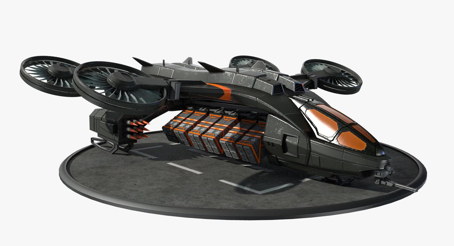 futuristic dropship model
