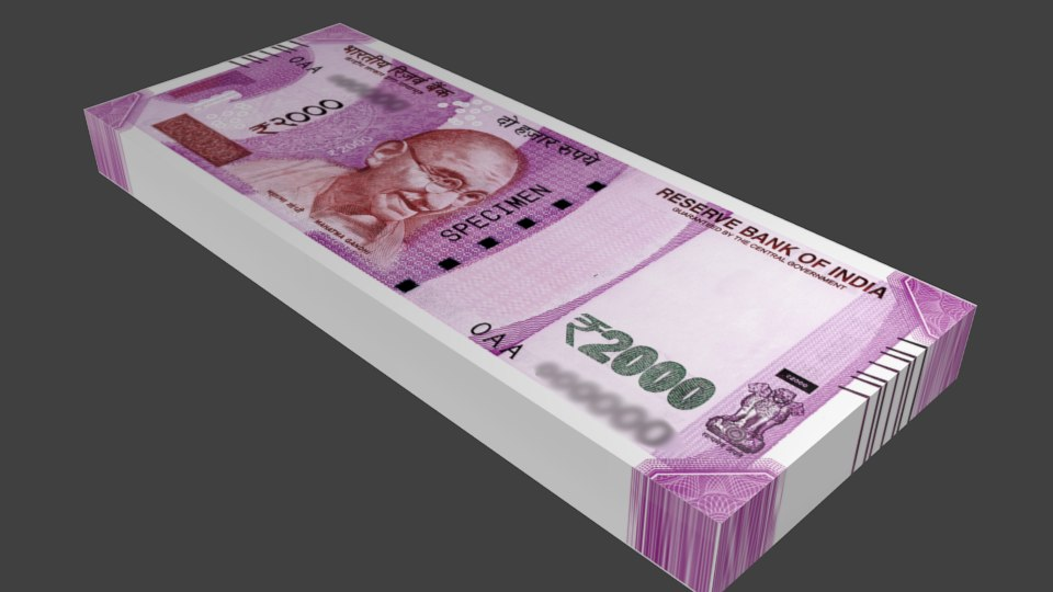 india 2000 rs note 3D