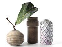 3D vintage vases leaf