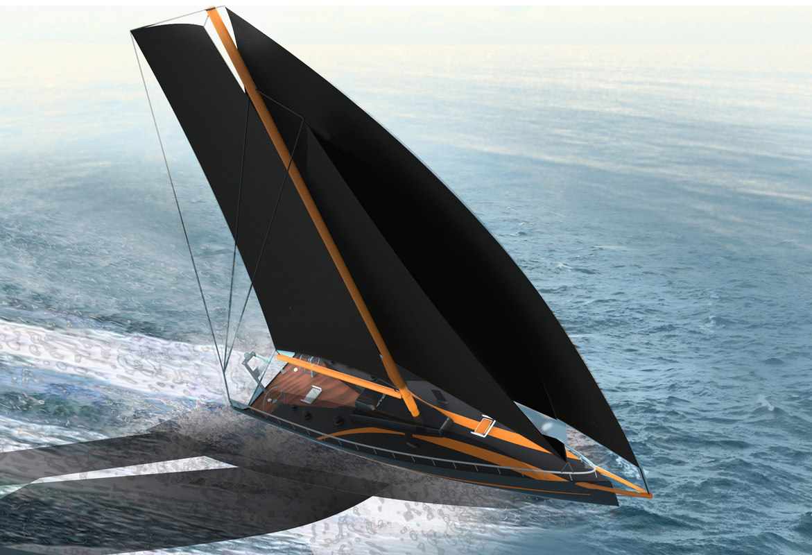 3D racing sailboat