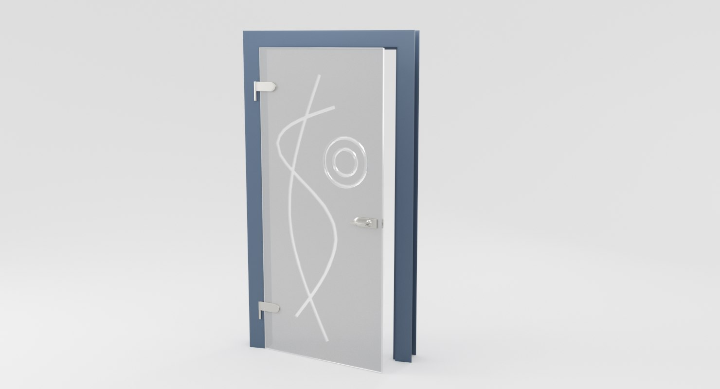 3D modern metal glass door
