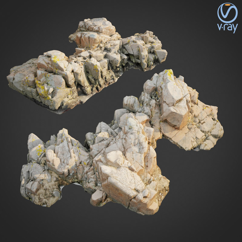 3D model scanned rock cliff a2