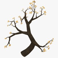 3D oak branch tree model