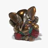 3D hindu ganesha bronze